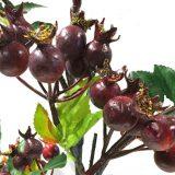 Kunstig nype gren med blader rød 90cm *SALG