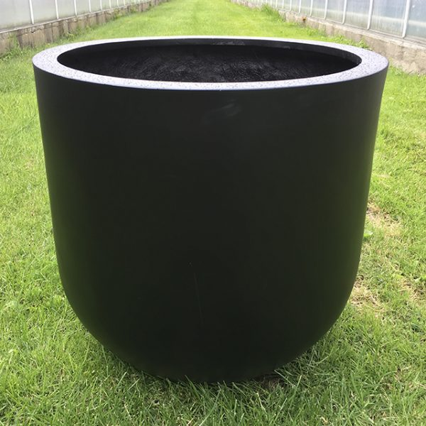 Potte rund poly sort Ø60xH60cm