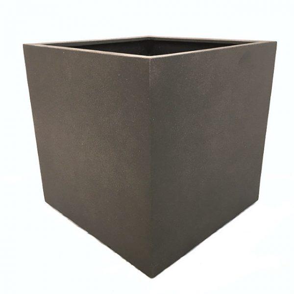 Potte cube poly fiber brun L75xB75xH75cm