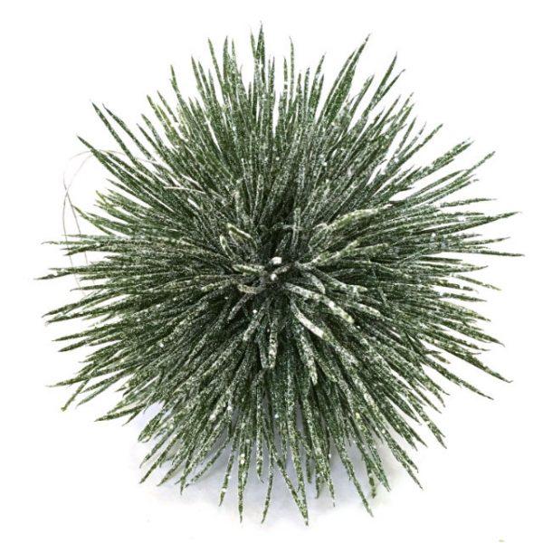 Kunstig julekule barnål icy m/tråd Ø10cm