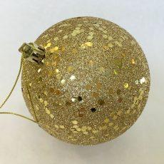 Julekule glitter gull m/tråd Ø10cm *SALG