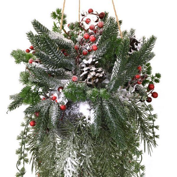 Kunstig juledekorasjon hengende m/tråd Ø20cm L100cm *SALG