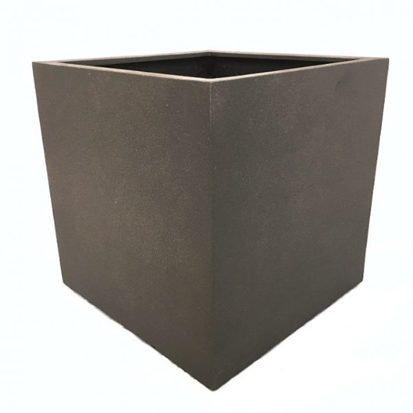Potte cube poly fiber brun L50xB50xH50cm