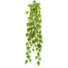Kunstig humle hengeplante hvit/grønn L71cm u/potte