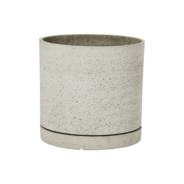 Potte rund m/fat cement natur Ø35xH35cm