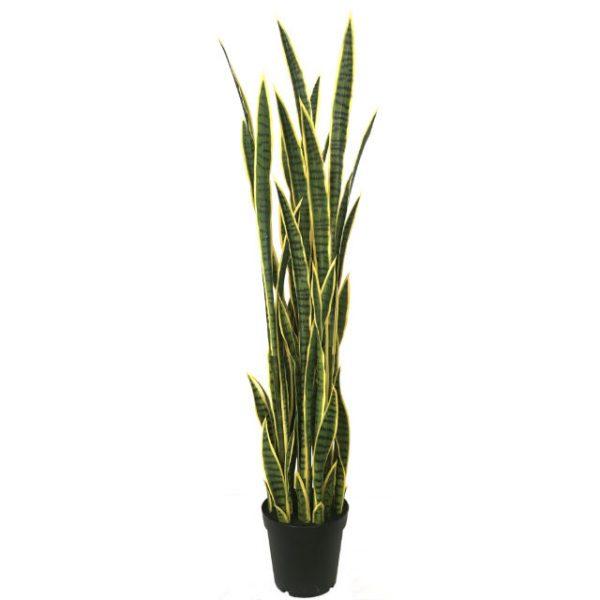 Kunstig sanseveria plante gul/grønn H165cm