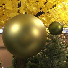 Julekule grønn/gull m/tråd 4pk Ø20cm *SALG