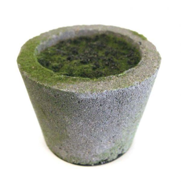 Potte m/innmat og jord cement grå Ø9,5x7,8cm