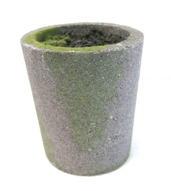 Potte m/innmat og jord cement grå Ø13xH15cm