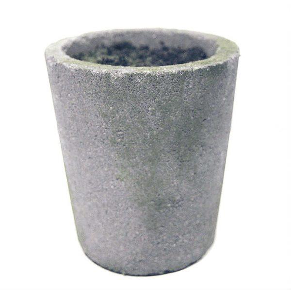 Potte m/innmat og jord cement grå Ø15xH18cm