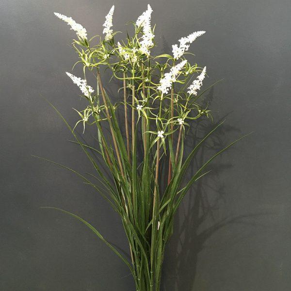 Kunstig gress plante med hvite blomster UV H90cm