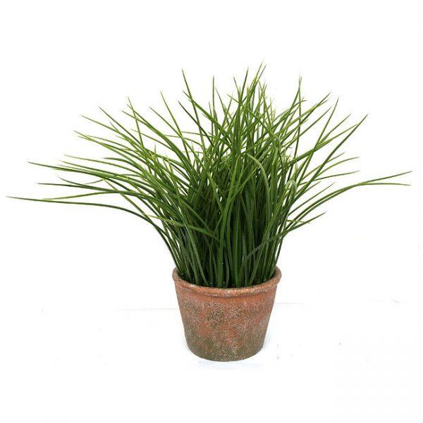 Kunstig gress plante grønn H28cm m/potte *SALG