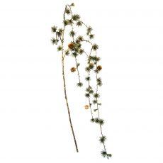 Kunstig lerk gren m/kongler gull/grønn L131cm