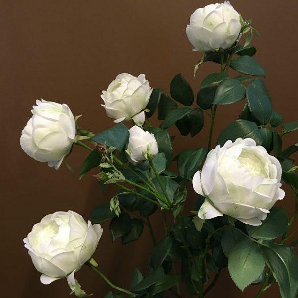 Kunstig rose hageplante hvit H86cm