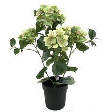 Kunstig hortensia plante grønn H76cm