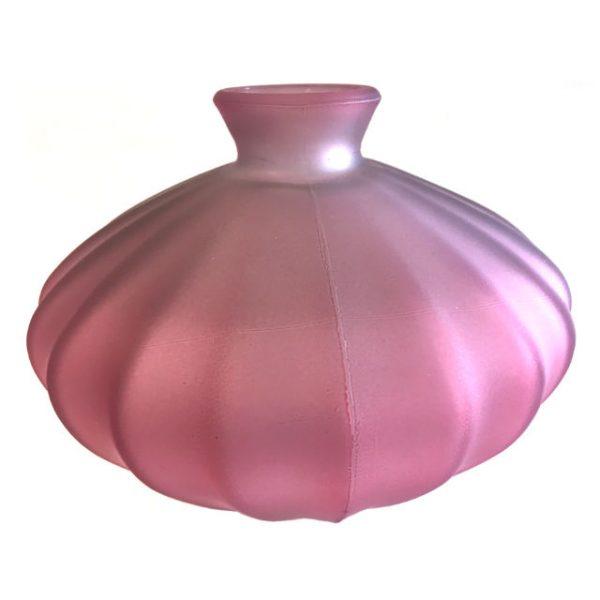 Glassvase etnico frostet rosa Ø19xH14cm