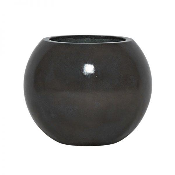 Potte glaze kule ficonstone varm sort Ø30xH25cm