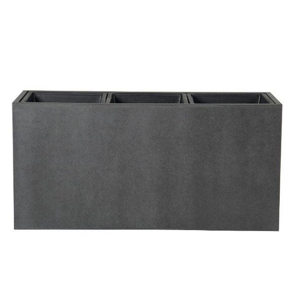 Potte smooth  rektangel cementfiber m/innsatser grå L95xB35xH46cm