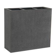 Potte smooth rektangel cementfiber m/innsatser grå L69xB26xH62cm