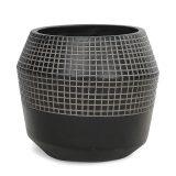 Potte quilt rund poly sort Ø56xH49cm