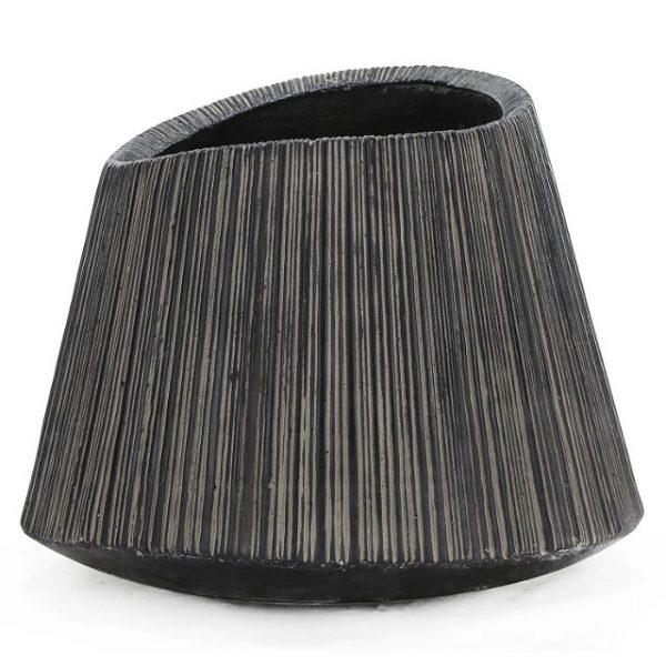 Potte plissè poly sort Ø82xH64cm