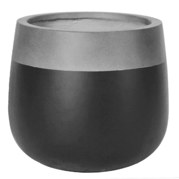Potte edge matt ficonstone grå/sort Ø29xH26cm