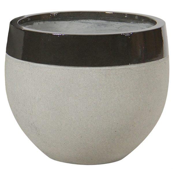 Potte edge blank ficonstone varm sort/cement Ø40xH35cm