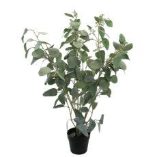 Kunstig eucalyptus busk støvgrønn m/bær H100cm
