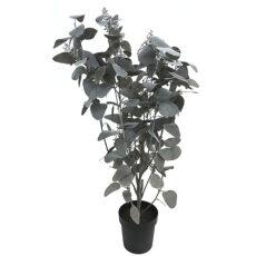 Kunstig eucalyptus busk kaffe m/bær støvgrønn H130cm