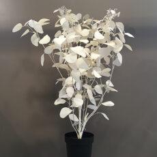 Kunstig eucalyptus busk krem m/bær hvit H130cm
